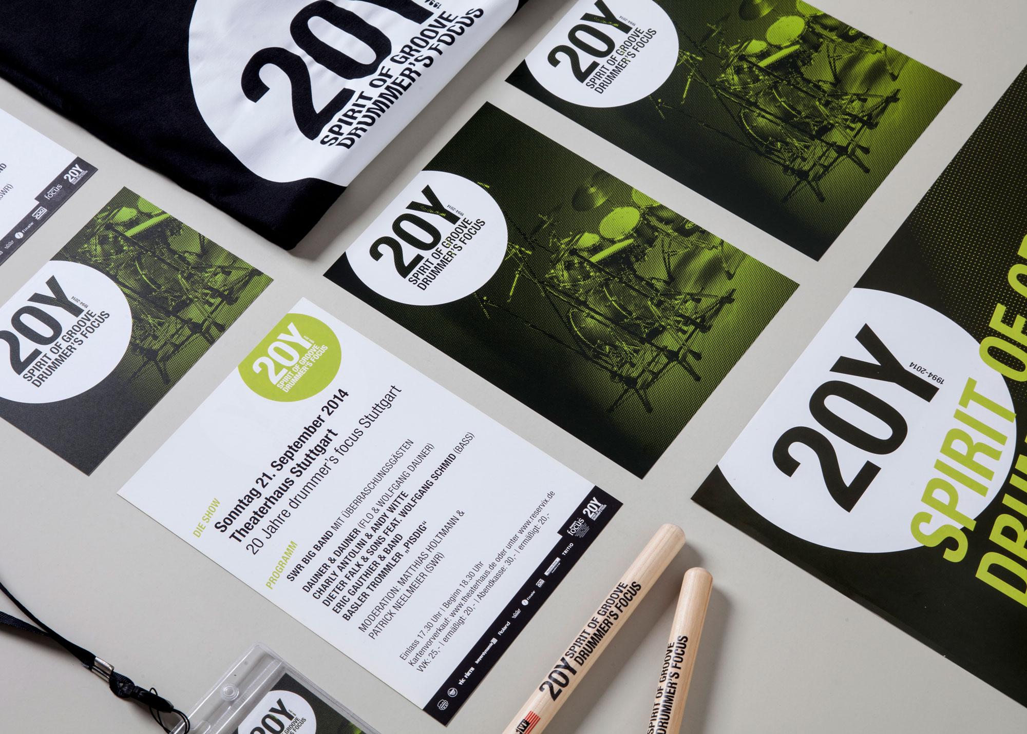 75a Büro für Gestaltung aus Stuttgart gestaltet die Drucksachen für 20Y drummer's focus Stuttgart