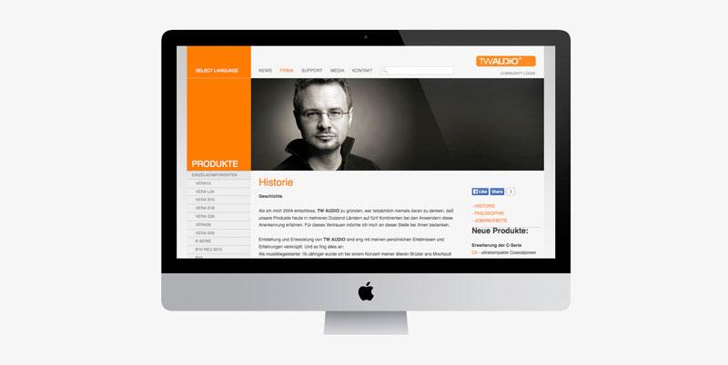75a gestaltet die Website von TW AUDiO in Ludwigsburg