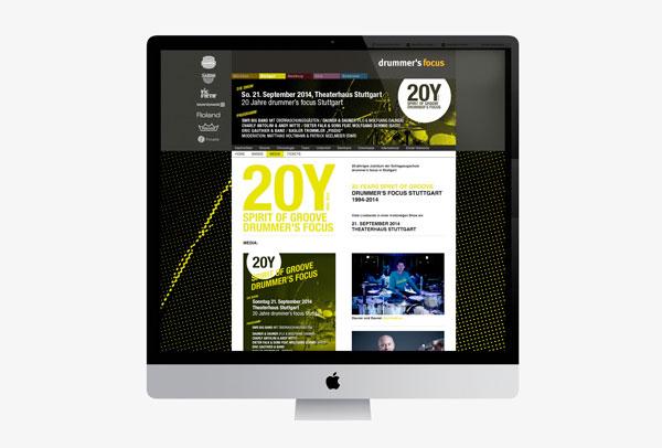 75a Büro für Gestaltung aus Stuttgart gestaltet die Website für 20Y drummer's focus Stuttgart
