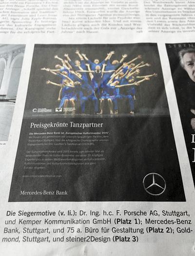75a gewinnt 2. Platz für die Anzeige der Mercedes-Benz bank