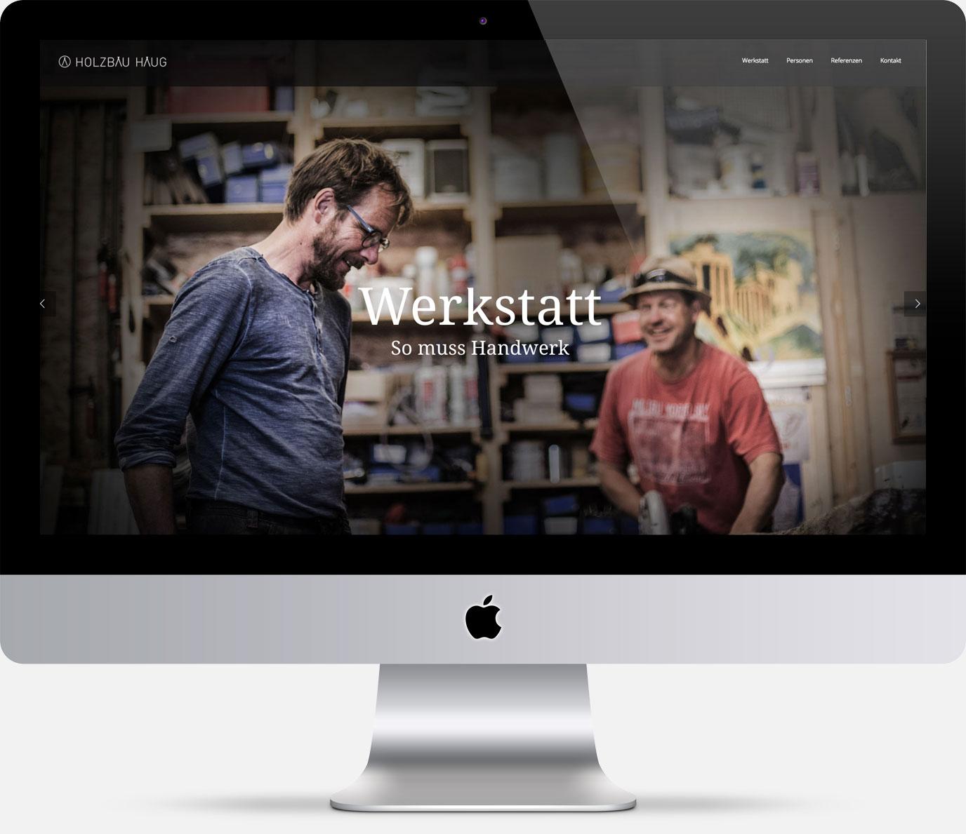 75a, Büro für Gestaltung aus Stuttgart entwirft die Website für Holzbau Haug aus Nürtingen