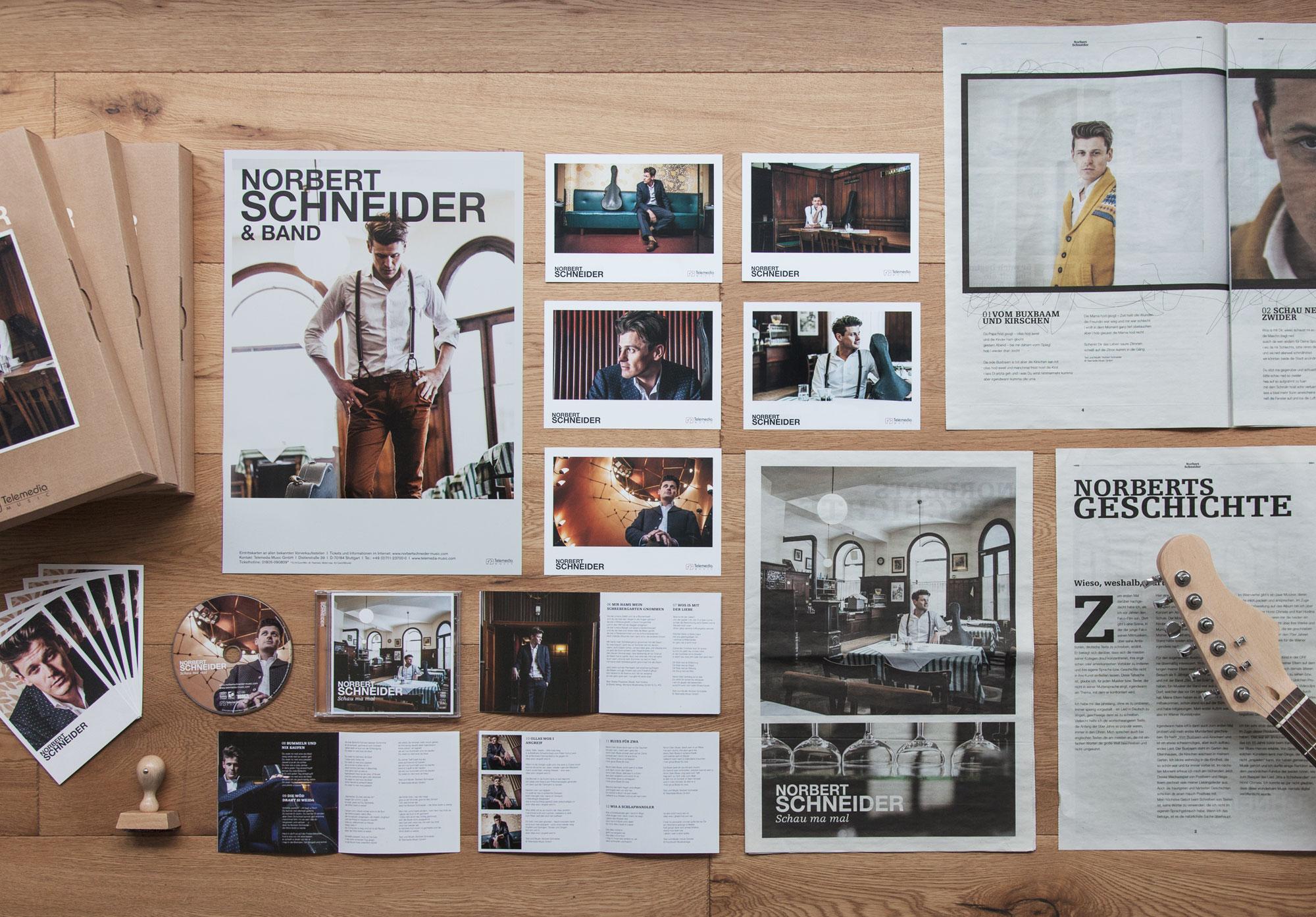 75a Büro für Gestaltung aus Stuttgart gestaltet das neue Coporate Design des Wiener Musikers Norbert Schneider
