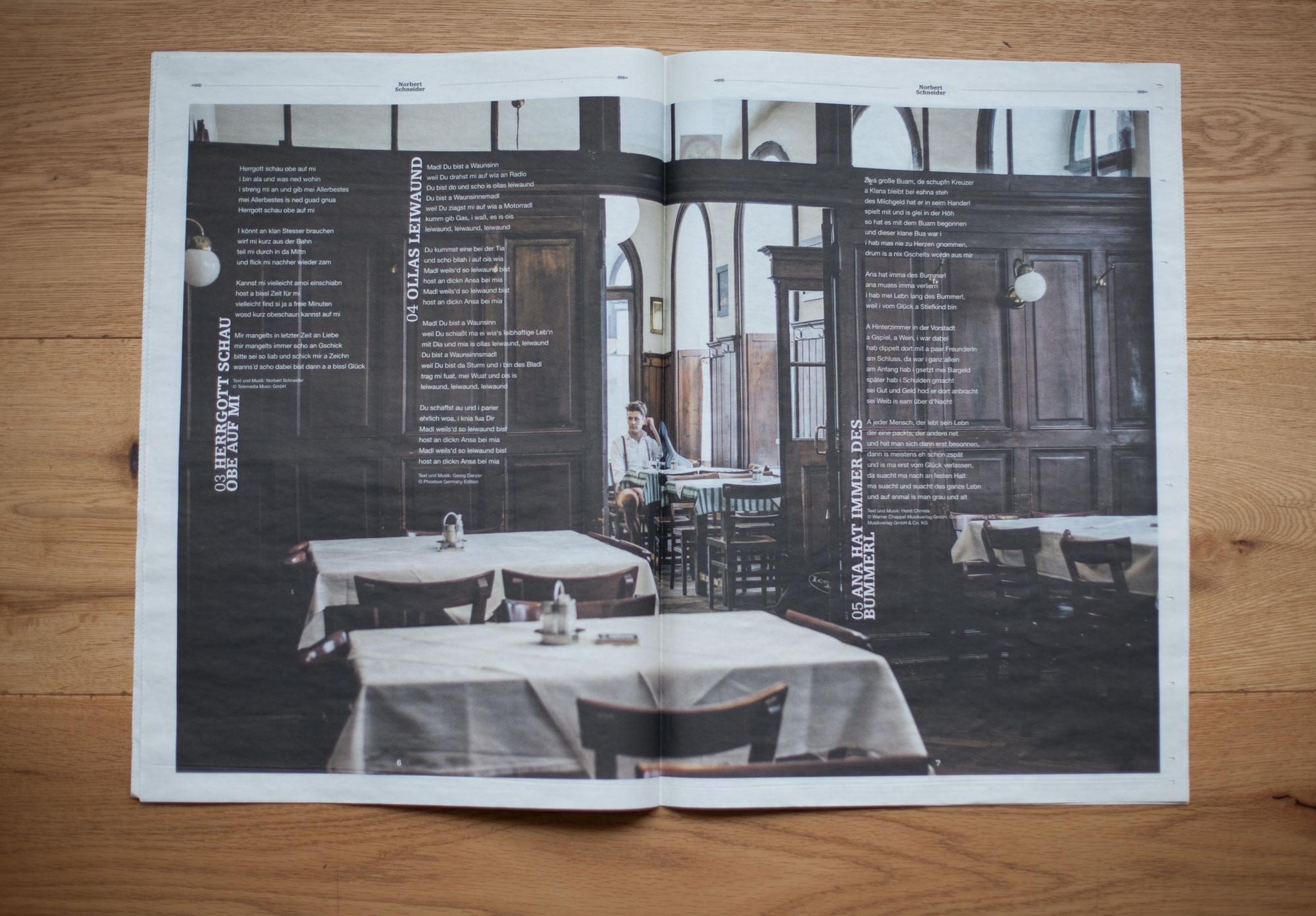 75a Büro für Gestaltung aus Stuttgart entwirft das CD-Booklet des Wiener Musikers in Form einer Zeitung