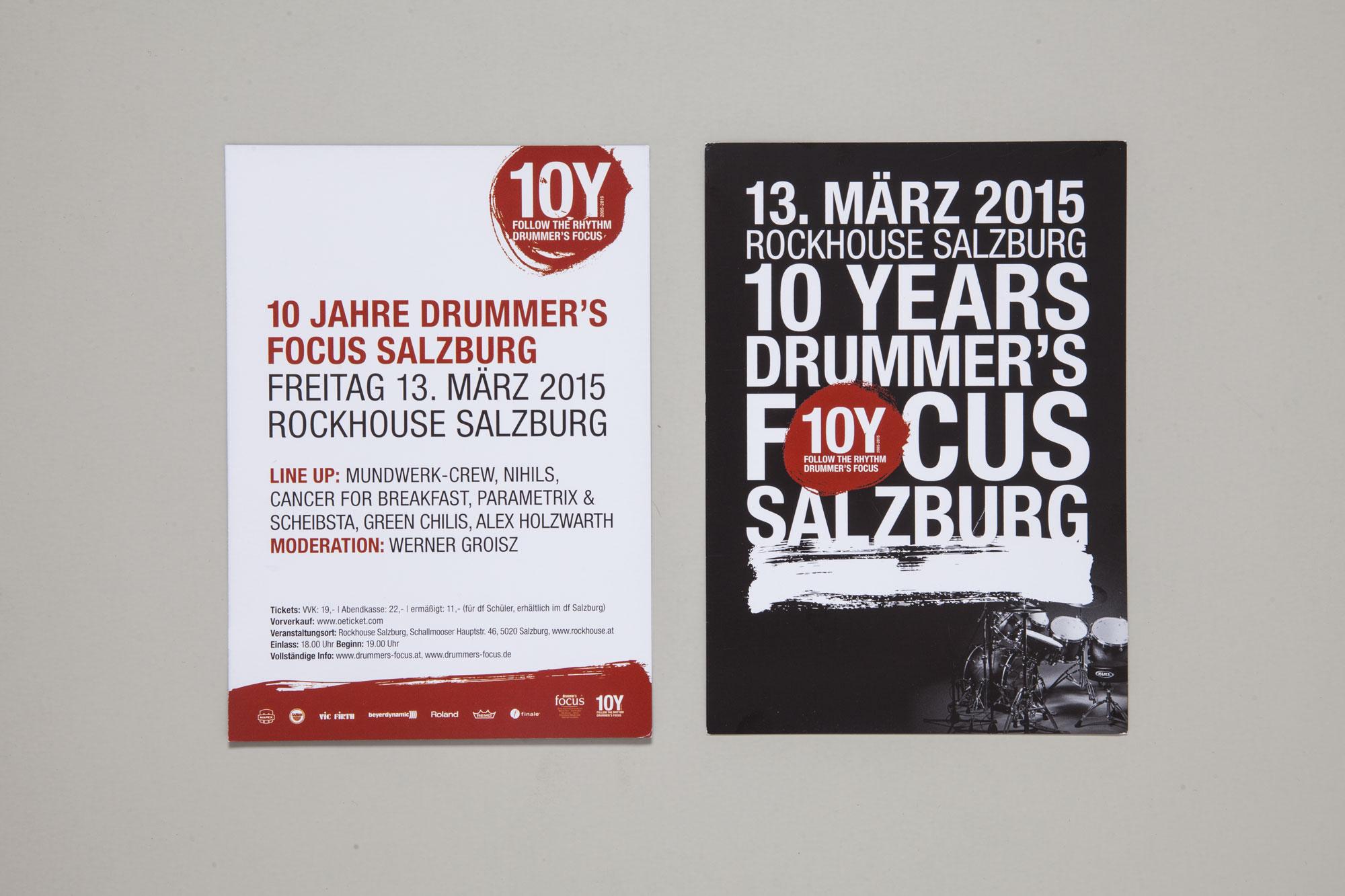 75a Büro für Gestaltung aus Stuttgart gestaltet die Drucksachen für 10Y drummer's focus Salzburg