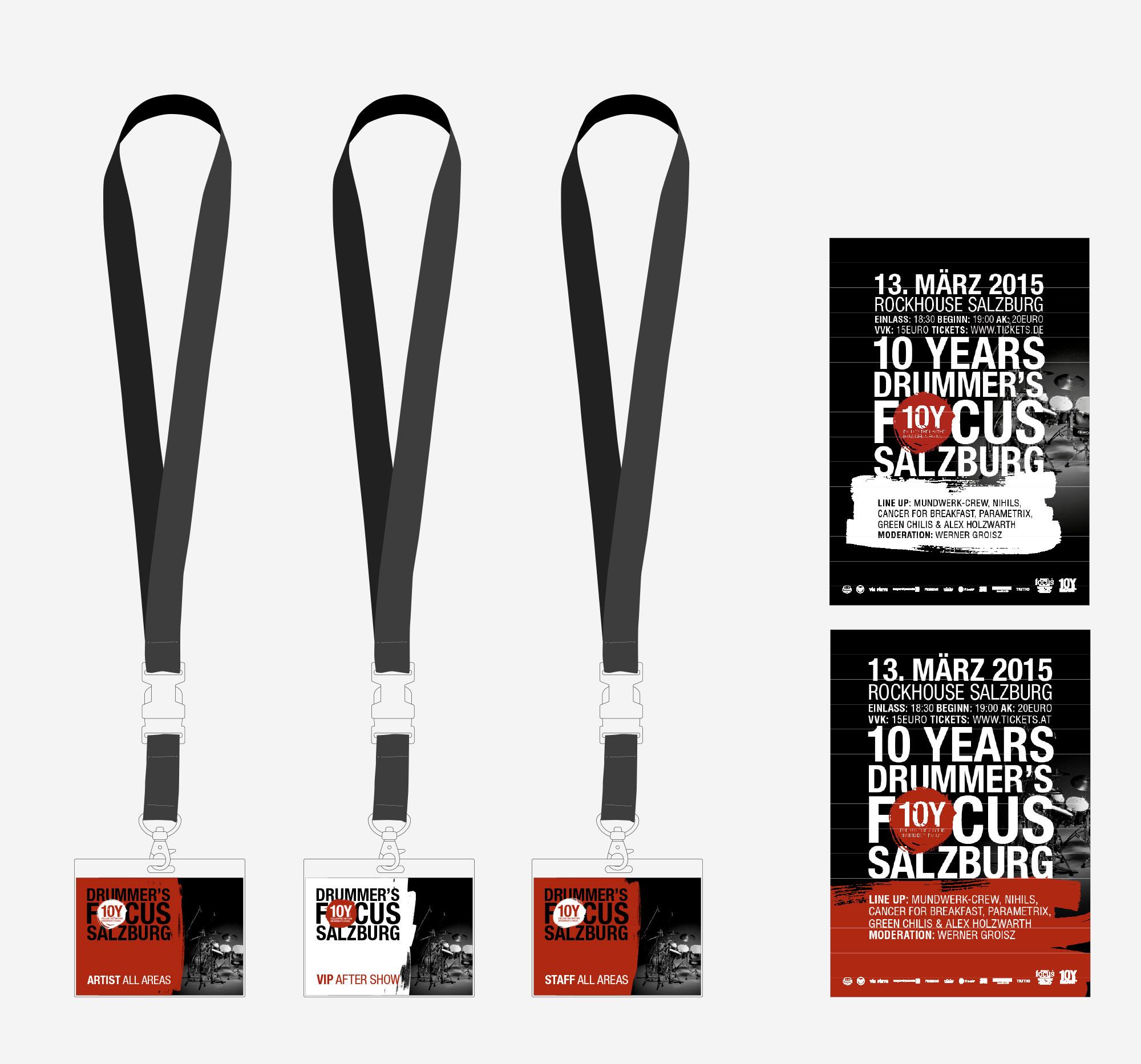 75a Büro für Gestaltung aus Stuttgart gestaltet die 10Y Drucksachen für drummer's focus Salzburg