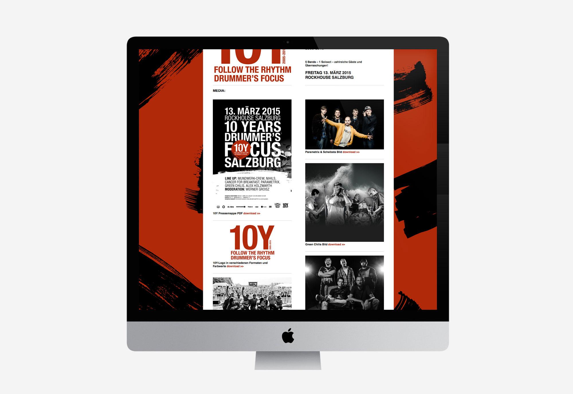 75a Büro für Gestaltung aus Stuttgart gestaltet die Website fürs Jubiläum von drummer's focus Salzburg