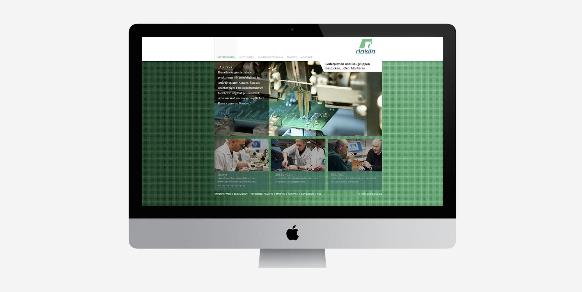 Für Rinklin Elektronik aus Neuffen entwickelte 75a die neue Website