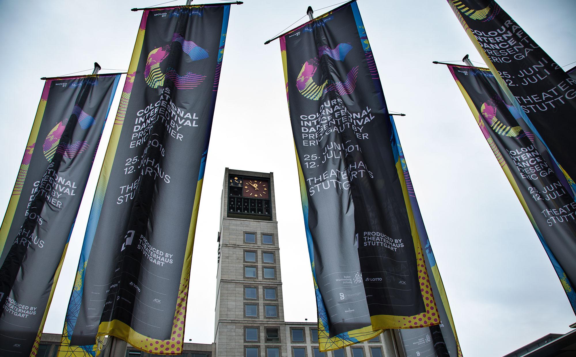 75a aus Stuttgart entwickelt die Außenwerbung des Colours International Dance Festival 2015 presented by Eric Gauthier