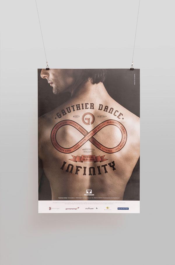 """Für die Gauthier Dance Dance Company Theaterhaus Stuttgart entwirft 75a ein neues Plakat - """"Infinity"""" heißt der Tanzabend"""