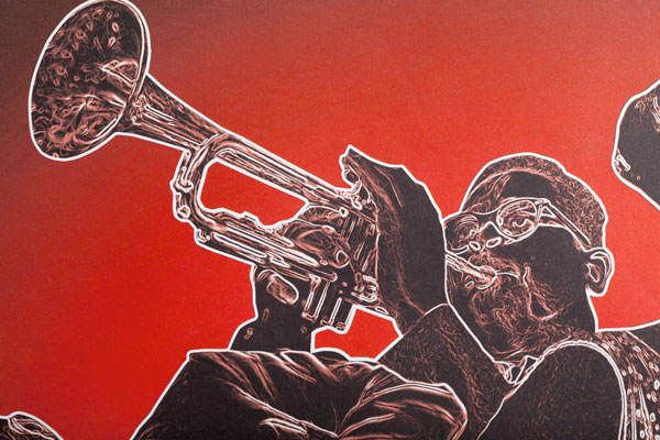 """75a gestaltet für die SWR Big Band das """"Swing That Music""""-Konzertplakat"""