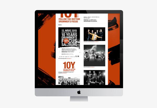 75a Büro für Gestaltung aus Stuttgart gestaltet die Website für 10Y drummer's focus Salzburg